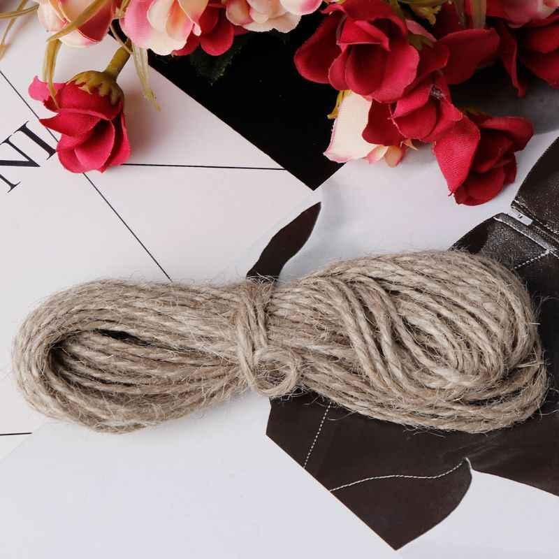 10M naturalna brązowa juta liny konopne sznurki wiszące sznurek do rzemiosła ciąg DIY biżuteria naszyjnik Making zawijanie DIY
