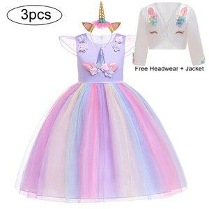Image 2 - Unicorn parti elbise çocuklar kızlar için elbiseler kostüm kız elbise çocuk kız prenses elbise bebek noel yeni yıl elbise