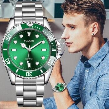 цена на Men's Watch New Luxury Business Watch Men Waterproof Green Dial Watches Fashion Male Clock Wrist Watch Relogio Masculino