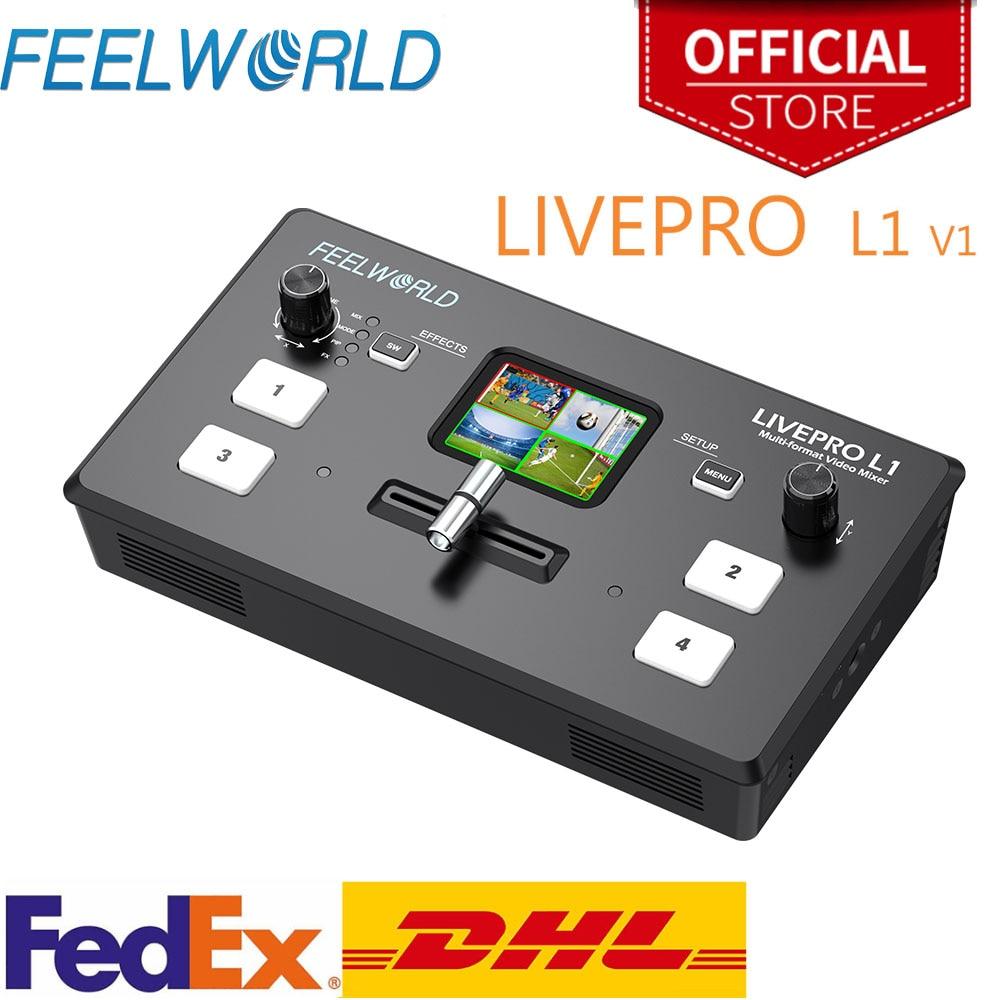 Мульти-формат, микшер для видео FEELWORLD, коммутатор USB3.0, 4 входа xHDMI, производство камеры, Youtube, прямая трансляция, LIVEPRO L1 V1