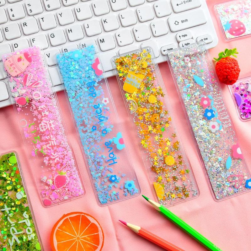 Kawaii Flower Quicksand Ruler Kawaii PVC Drawing Ruler Novelty Girl Stationery Student School Office Supplies Gifts For Kids