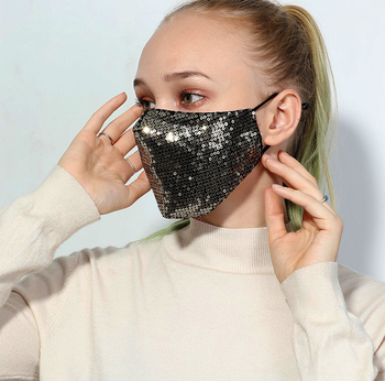 Women Bling Bling Sequins Face Mask Anti-Dust Haze Flu Proteccion Mouth Mask Respirator Reusable Cotton Respirator Mask D30 1