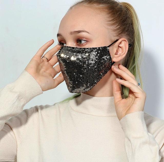 Women Bling Bling Sequins Face Mask Anti-Dust Haze Flu Proteccion Mouth Mask Respirator Reusable Cotton Respirator Mask D30 1