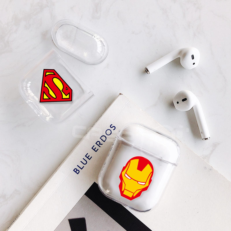 Hard PC Transparent Case Cover For AirPods 1 2 Cartoon Patterned Wireless Earphone Charging Box Cover Bag For Apple AirPods 1 2