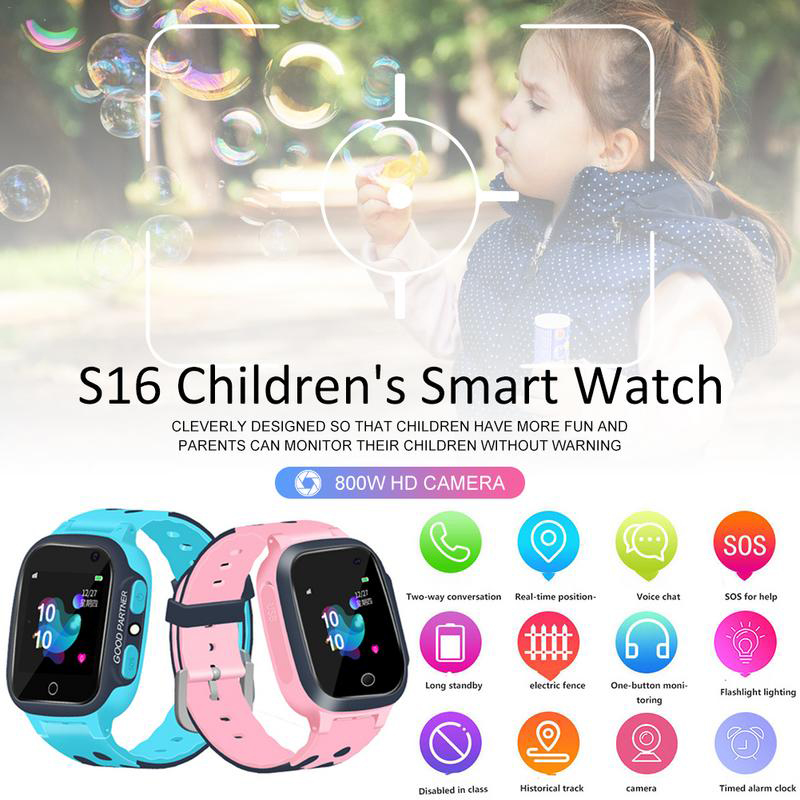 Cute Smart Watch with GSM Touch <font><b>Screen</b></font> GPRS LBS Tracker SOS SIMS Card Camera <font><b>Smartwatch</b></font> for Kids Boy Girl Children Waterproof image