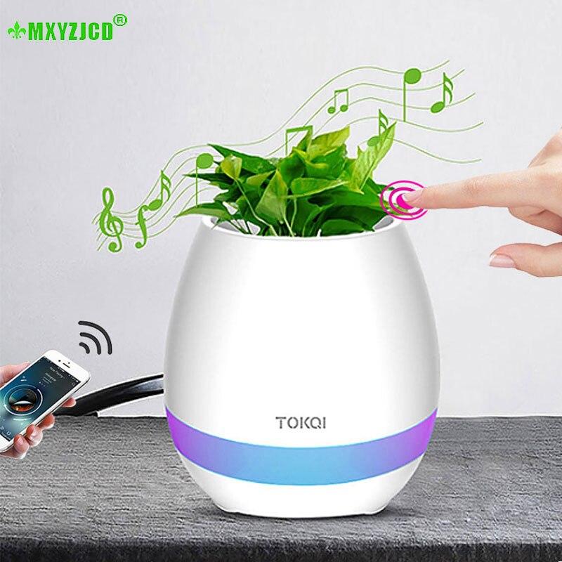 Bluetooth Audio Smart Flower Pot Touch Plant Music Potted LED Lights Plastic Vase Home Decoration Accessories Children's Toys