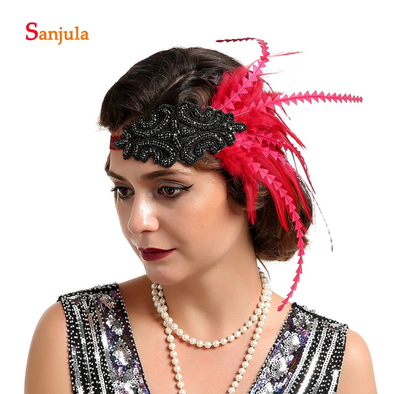 Красная/черная/белая повязка на голову для свадебных волос, блестящие вечерние головные уборы с бисером в винтажном стиле Great Gatsby tocado boda BQ006