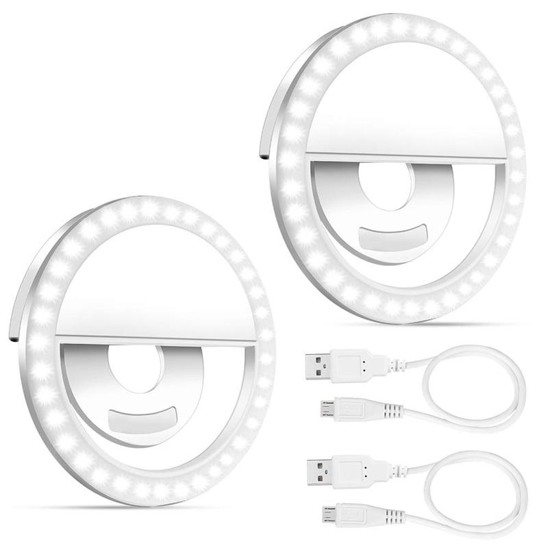 Selfie Light Ring, 2 Pack Led Circle Clip On Cell Phone Laptop Camera Led Light 3-Level 36 Led Adjustable Brightness Video Light