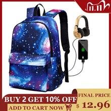 Mochila escolar feminina, bolsa de lona com carregamento usb para adolescentes, meninos e meninas, grande capacidade, mochila masculina