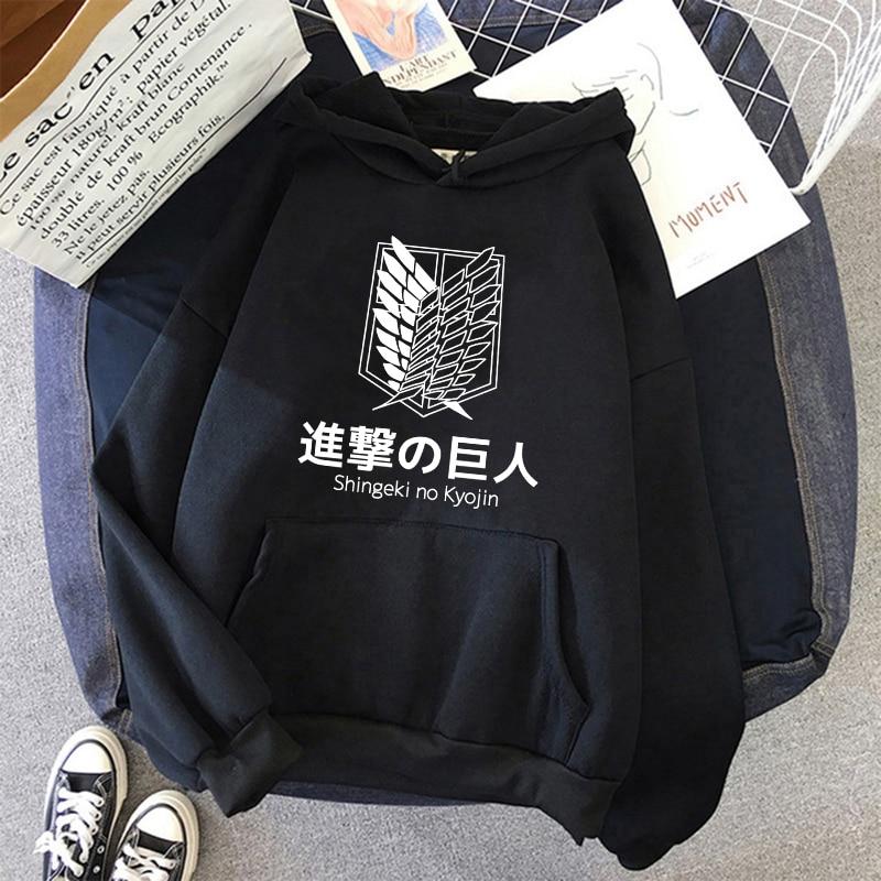 Shingeki No Kyojin Attack on Titan Funny Cartoon Streetwear Hoodies Men Cool Japanese Anime Manga Sweatshirt Graphic Hoody Male 3