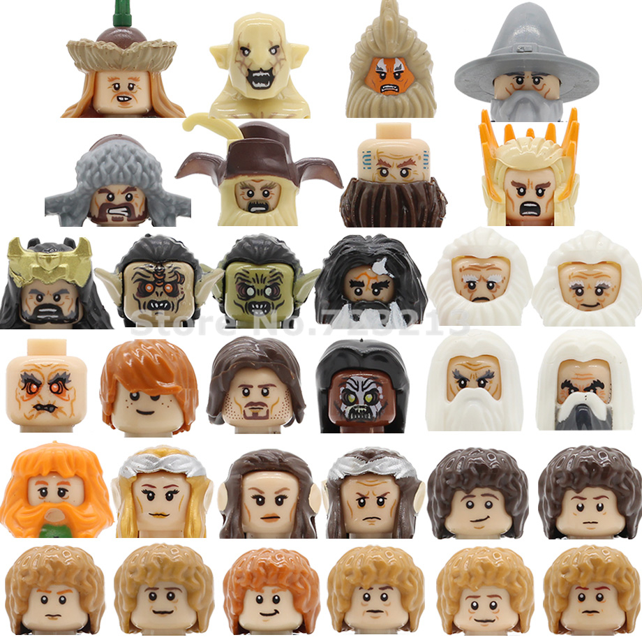 Single Sale Movie Ring Lords Dwalin Figure Head Bifur Bain Balin Thorin Gandalf Baggins Building Block Models Bricks Kits Toys