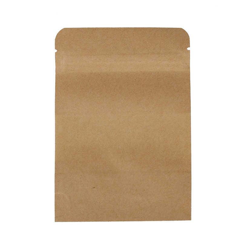 10 個コーヒー種子お菓子ジップロックシールクラフト紙袋窓スタンドアップシール可能なポーチ