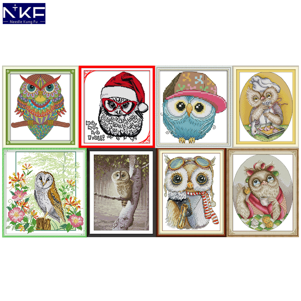 NKF Lovely Owl Cross Stitch Kits 11CT 14CT Chinese Cross Stitch Pattern Embroidery Needlework Set For Home Decor