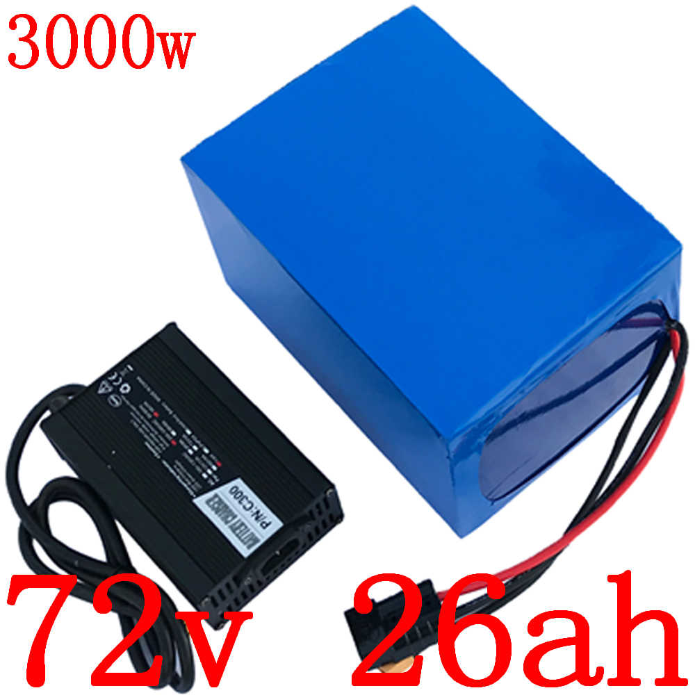 72V battery 72V 25AH electric balance bike battery 72V 2000W 3000W lithium battery pack with 50A BMS and 5A charger free duty