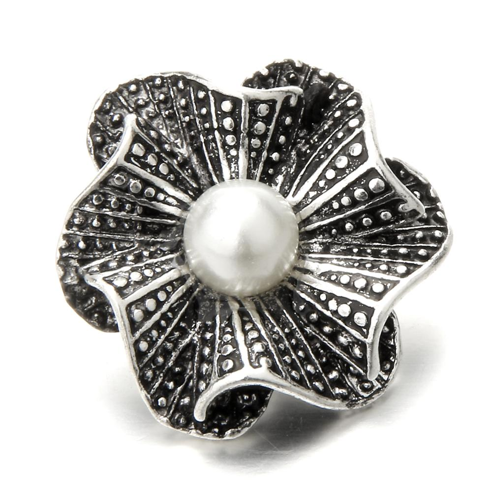 Silver Beautiful Bead 10Pcs Alloy Bracelet Button Necklace Finding Snap Flower Shape With Rhinestone