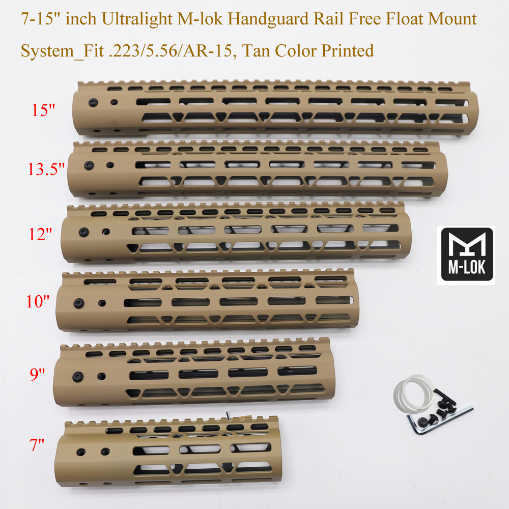 Aplus 7/9/10/12/13.5/15'' Inch M-lok Handguard Picatinny Rail Free Float Mount System Ultralight Fit .223/5.56/AR-15_Tan Color