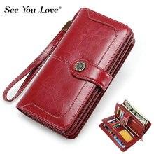 2019 New Luxury Vintage Lady Purse Woman Wallet Genuine Leather Clutch Long Zipper Retro Female Purses Women Wallets Card Holder