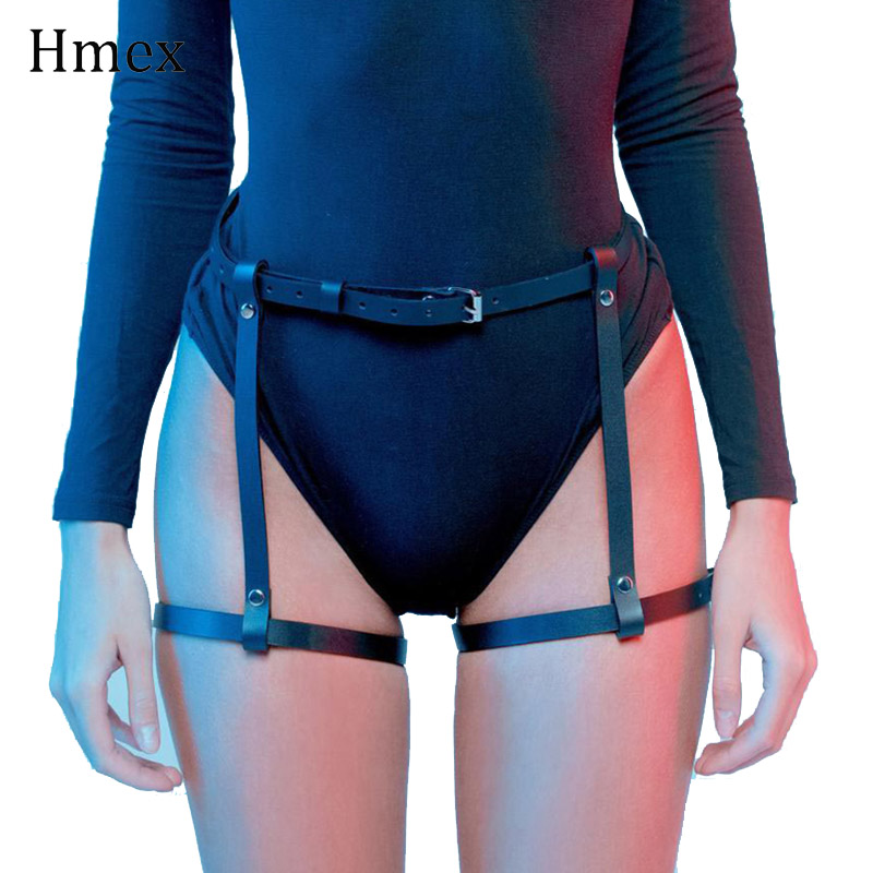 Sexy Women Leather Harness Garter Belt Gothic Punk Leg Suspenders Stocking Fetish Rave Bondage Cage Belts Accessories