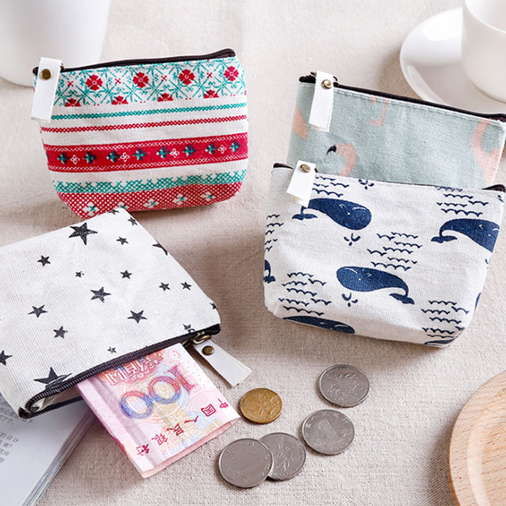 Canvas Bag Wallet Pouch Card-Holder Coin-Purse Zipper Small Unisex 1PCS