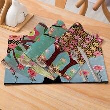 Ibows Посуда коврик полиэстер льняная салфетка растительными