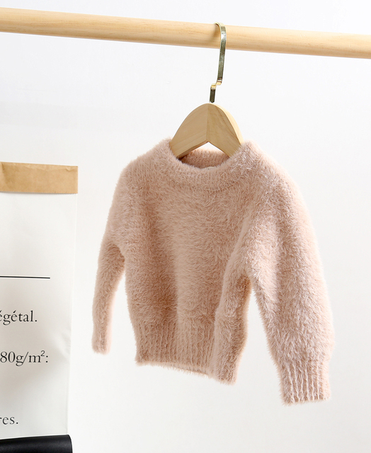 lioraitiin 0-5Years Toddler Kid´s Girl Solid Color Sweater Long Sleeve  Artificial Mink Hair Sweater for Autumn Early Winter 3