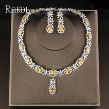 RAKOL Famous Brand Bbrilliant Crystal Zircon Earrings necklaces Bridal jewelry Set Women Wedding Dress Accessories RS2007