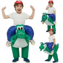 Disfraz inflable para niños, disfraz de dinosaurio de Halloween, disfraces de Carnaval de Mario Brothers Riding Yoshi para adultos