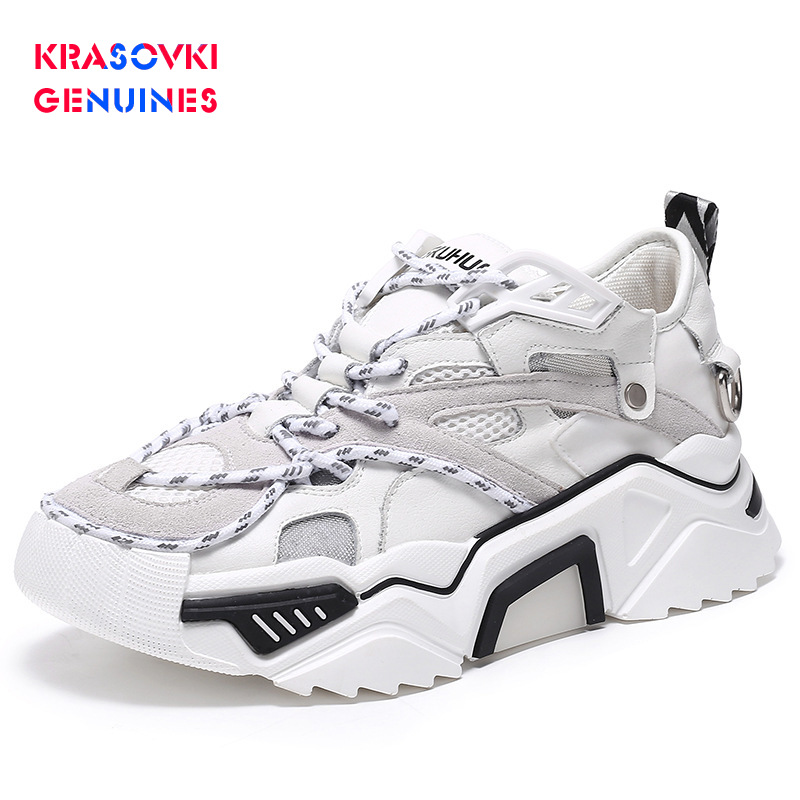 Krasovki Genuines Sneakers Women Soft Bottom Dropshipping Fashion Autumn Breathable Thick Bottom Leisure Solid Lace Women Shoes