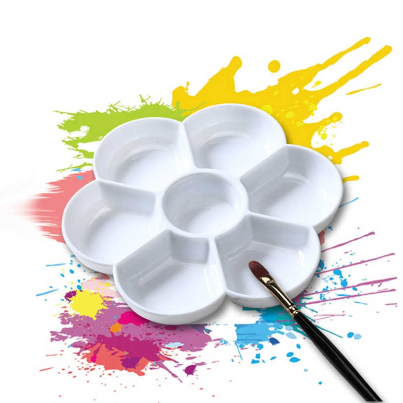 7 Holes Palette High Quality Acrylic Gouache Watercolor Paint Palette Plastic