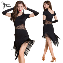 Spring New Black Blue Tassel Latin Dance Costume Modal Lace Splice Short Sleeve Tassel Dress Pink Latin Dance Dress Women Brand