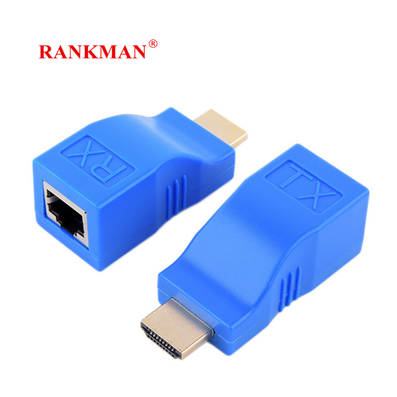 Rankman HDMI Extension To RJ45 Lan Network Adapter Cat5e Cat6 Ethernet Cable 30m Transfer 720p/1080p Video For Laptop PC DVD TV