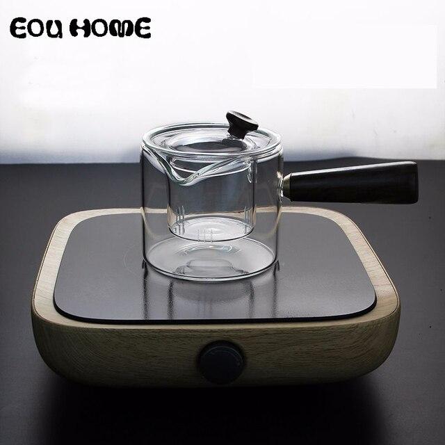 1Pce 450 ミリリットル高品質ハンドメイド耐熱耐熱ガラス調理ティーポット沸騰ティーケトルスプーンティーポットカンフー茶