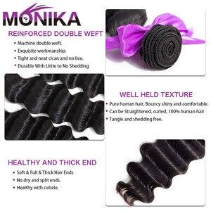 Image 3 - Monika gevşek derin dalga saç 3 demetleri anlaşma brezilyalı saç örgü demetleri olmayan Remy İnsan saç demetleri çift örgülü saç uzantıları