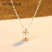 Gem&Time Real 14k Gold Square Cubic Zirconia Clavicle Neckalce For Women 14K Gold 585 Material Pendant Gold 14k Jewelry N14154