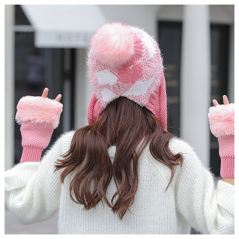 Women Winter Hat Glove Set For Women Pom Pom Ball Beanies Set Of Hat And Scarf For Women Thicken Warm Soft Winter Accessories