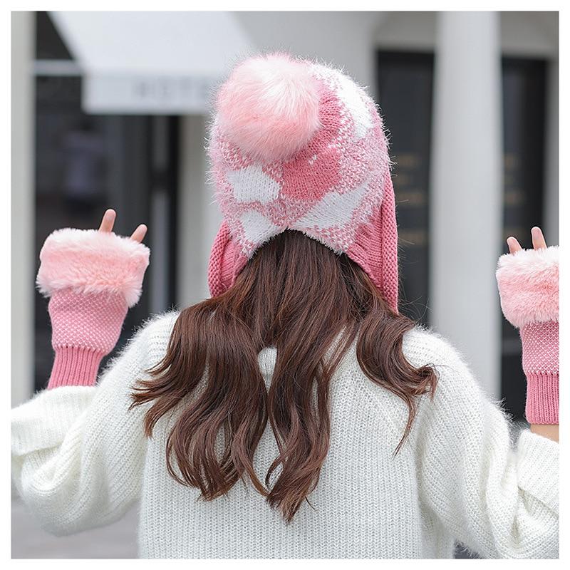 Women Winter Hat Glove Set For Women Pom Pom Ball Beanies Set Of Hat And Scarf For Women Thicken Warm Soft Winter Accessories