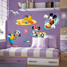 disney mickey minnie mouse goofy pluto wall stickers for kids rooms home decor cartoon decals pvc mural art diy posters
