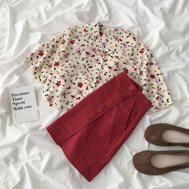 Summer Flower Pattern Skirt Set Women Casual Short Sleeve Loose Shirt + High Waist Red Mini Skirt Matching Set Two Pieces Set