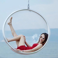 Transparent bubble chair hemisphere hanging chair acrylic hanging basket swing spherical chair hanging ball glass space chair