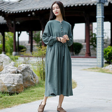 Новинка, Осеннее однотонное хлопковое льняное платье с круглым вырезом, карманами и пуговицами размера плюс, свободное модное удобное женское платье