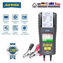 AUTOOL probador de batería de coche BT860, 12  24V, con impresora, monitorización de temperatura en tiempo Real, pantalla a Color de 3,2 pulgadas, herramienta de prueba de batería