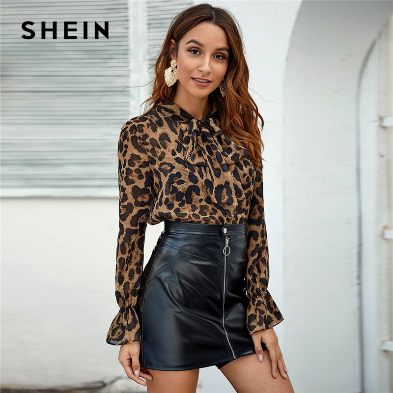 SHEIN Multicolor Tie Neck Flounce Sleeve Leopard Top Women Elegant Blouse Spring Autumn Stand Collar Office Lady Sheer Blouses