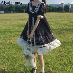 Japanese Lolita Style Spring Summer Women Dress Sailor Collar Bow Black Blue Tulle Dress Cute Kawaii Ruffles Mesh Party Dresses