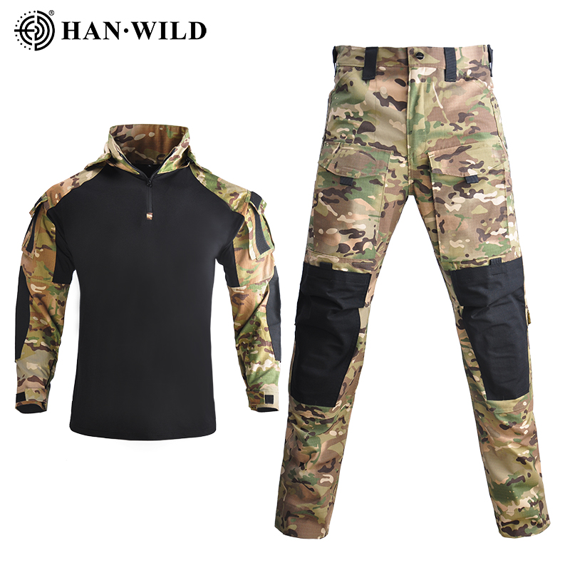 HAN WILD Tactical Uniforms Men Hiking Camouflage Military Clothing Sets Airsoft Paintball Combat Suits Hunt Clothes with 4 Pads