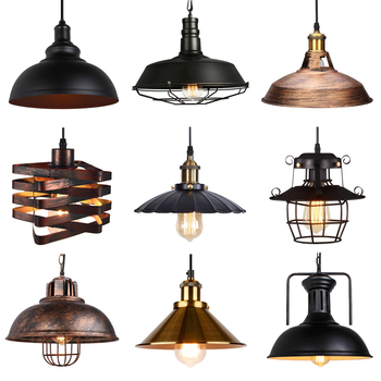 vintage pendant lights industrial loft lamp e27 nordic restaurant kitchen light night light lamp loft bar living room lamp Vintage Loft Pendant Lights Nordic Retro Industrial Light Hanging Lamp Lighting Home Living Room Kitchen Decoration Lampshade