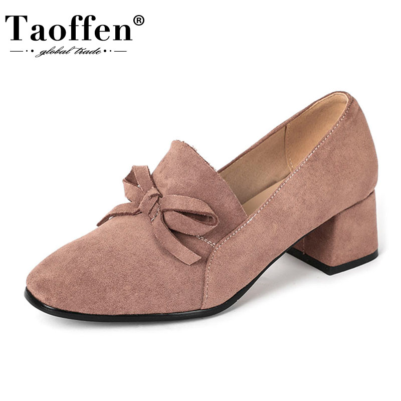 Taoffen Sweet New Women Pumps Bowknot Square Toe Sheos Women Thick Heel Solid Color Girlish Party Mujer Footwear Size 33-43