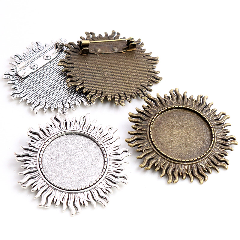 New Fashion 5pcs 25mm Inner Size Antique Silver Plated Bronze Brooch Leaves Style Cabochon Base Setting