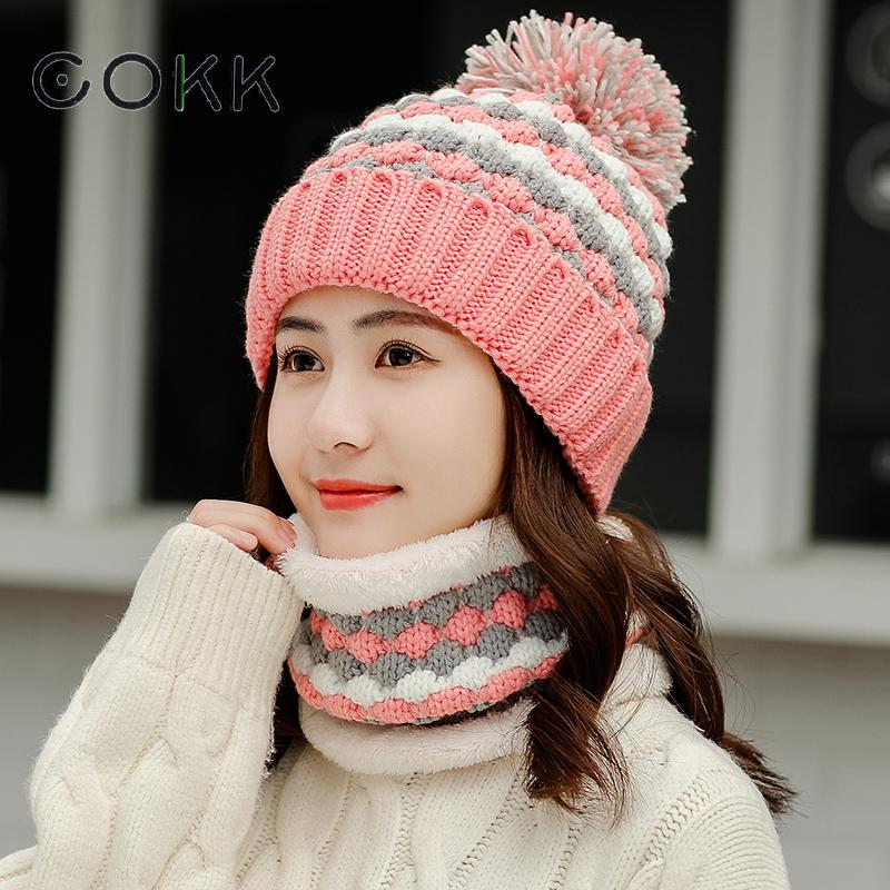 COKK 2019 New Winter Women Hat Knitted Wool Warm Scarf Thick Windproof Balaclava Multi Functional Hat Scarf Set For Women