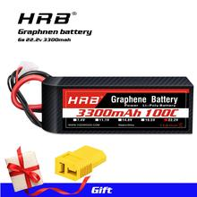 HRB Graphene Battery 22.2V 3300mah 6S Lipo Battery 100C 200C XT60 T connector  for goblin trex 550 helicopter Drone RC Car Boat