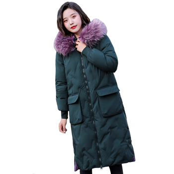 Plus Size 5XL Winter Jacket Women Cotton Padded Outwear Female Long Coat Hooded with Fur Loose Parka Big Pocket High Quality фото